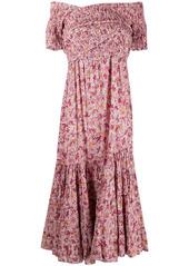 Poupette St Barth floral off-shoulder midi dress