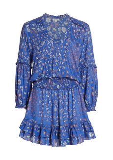 Poupette St Barth Ilona Long-Sleeve Mini Dress