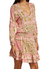Poupette St Barth Ilona Printed V-Neck Mini Dress