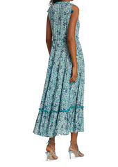 Poupette St Barth Ivy Floral Ruffle-Trim Tassel Maxi Dress