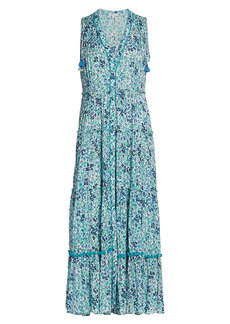 Poupette St Barth Ivy Floral Ruffle-Trim Tassel Maxi Dress