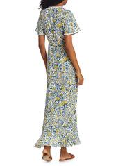 Poupette St Barth Joe Floral Print Wrap Maxi Dress