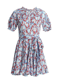 Poupette St Barth Lace-Trimmed Belted Floral Mini Dress