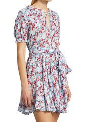 Poupette St Barth Lace-Trimmed Belted Floral Mini Dress