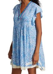 Poupette St Barth Sasha Floral Lace-Trimmed Midi Dress