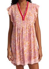 Poupette St Barth Sasha Floral Lace-Trimmed Mini Dress