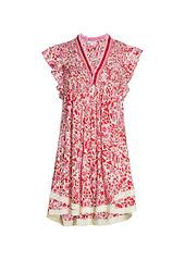 Poupette St Barth Sasha Lace-Trim Floral Mini Dress