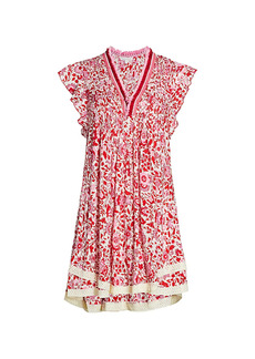 Poupette St Barth Sasha Lace-Trim Floral Mini Dress