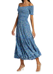 Poupette St Barth Soledad Off-The-Shoulder Floral Midi Dress