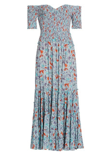 Poupette St Barth Soledad Spotted Floral Off-The-Shoulder Midi Dress