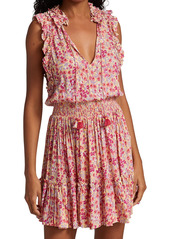 Poupette St Barth Triny Floral Ruffle-Trim Tassel Mini Flounce Dress