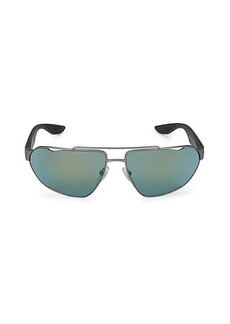 Prada 66MM Gunmetal-Tone Wrap Sunglasses