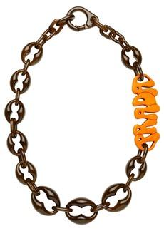 Prada Acrylic glass necklace with logo