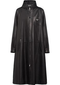 Prada leather oversized trench coat