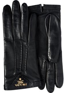 Prada logo-plaque lined gloves