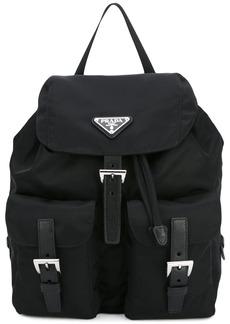 Prada logo plaque nylon backpack