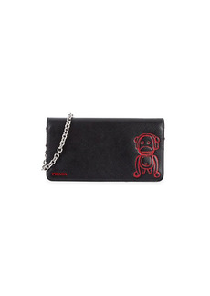 Prada Monkey Graphic Leather Crossbody Wallet