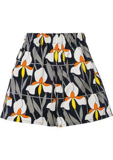 Prada orchid print cotton shorts