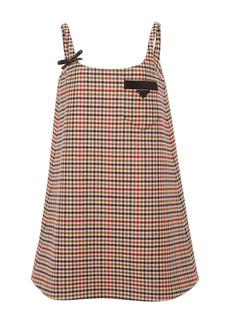 Prada - Women's Appliquéd Checked Wool Mini Dress - Plaid - Moda Operandi