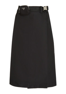 Prada - Women's Belted Gabardine Midi Skirt - Black - Moda Operandi
