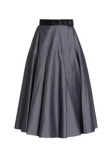 Prada - Women's Belted Mohair-Wool A-Line Midi Skirt - Grey - Moda Operandi
