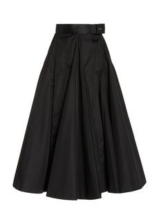 Prada - Women's Belted Nylon Gabardine A-Line Midi Skirt - Black - Moda Operandi