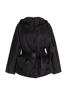Prada - Women's Belted Nylon Gaberdine Hooded Jacket - Black - Moda Operandi