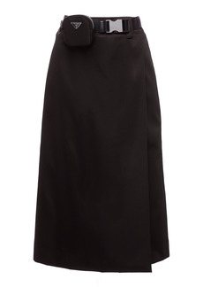 Prada - Women's Belted Wrap-Front Midi Skirt - Black - Moda Operandi