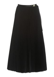 Prada - Women's Buckled-Detailed Plissé Twill Midi Skirt - Black - Moda Operandi