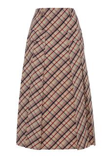Prada - Women's Checked Wool Midi Skirt - Plaid - Moda Operandi