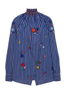 Prada - Women's Embroidered Cotton Smocked Top - Stripe - Moda Operandi