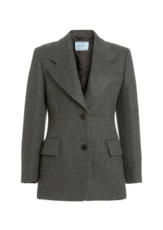 Prada - Women's Herringbone Single-Breasted Blazer - Grey - Moda Operandi
