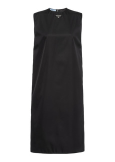 Prada - Women's Logo-Detailed Gabardine Midi Dress  - Black - Moda Operandi