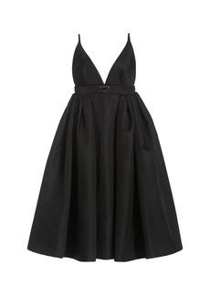 Prada - Women's Logo-Detailed Nylon Gabardine Midi Dress - Black - Moda Operandi