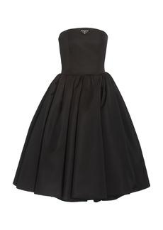 Prada - Women's Logo-Detailed Nylon Gabardine Strapless Midi Dress - Black - Moda Operandi