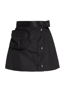 Prada - Women's Logo-Detailed Nylon Gaberdine Mini Skirt - Black - Moda Operandi