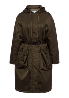 Prada - Women's Oversized Belted Tech-Nylon Coat  - Green - Moda Operandi