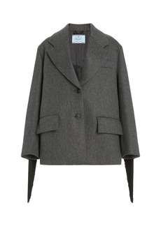 Prada - Women's Oversized Single-Breasted Wool Jacket - Grey - Moda Operandi