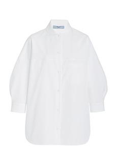 Prada - Women's Peter Pan-Collar Cotton Poplin Shirt  - White - Moda Operandi
