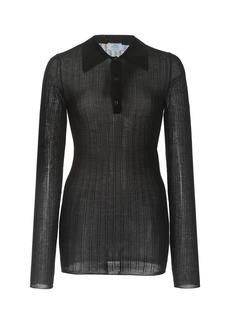 Prada - Women's Ribbed Cashmere-Silk Polo Top - Black - Moda Operandi