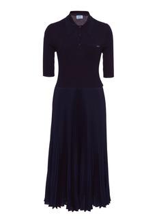 Prada - Women's Ribbed-Knit And Plissé Midi Dress - Navy - Moda Operandi