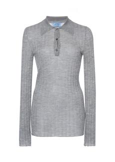 Prada - Women's Ribbed Knit Cashmere Silk Top    - Dark Grey/light Grey - Moda Operandi