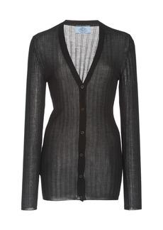 Prada - Women's Ribbed Silk-Cashmere Knit Cardigan - Black/grey - Moda Operandi