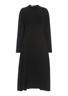 Prada - Women's Satin Sable Midi Dress - Black - Moda Operandi