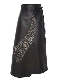 Prada - Women's Sequined Tie-Waist Leather Wrap Skirt - Black - Moda Operandi
