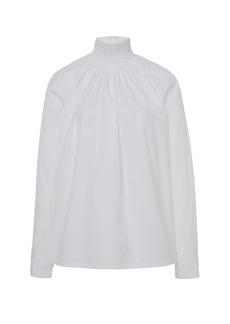 Prada - Women's Smocked Cotton-Poplin Shirt  - White/black - Moda Operandi