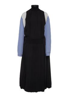 Prada - Women's Smocked Dual Fabric Midi Dress - Black - Moda Operandi