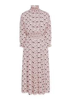 Prada - Women's Smocked Printed Crepe Midi Dress - Print/white - Moda Operandi