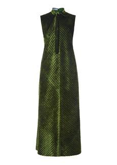 Prada - Women's Tie-Detailed Velvet Midi Dress - Green - Moda Operandi