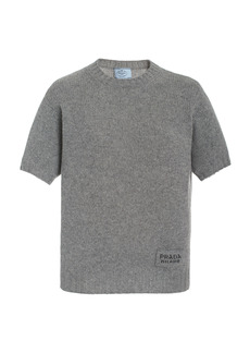 Prada - Women's Wool-Cashmere Knit Logo Tee - Grey - Moda Operandi